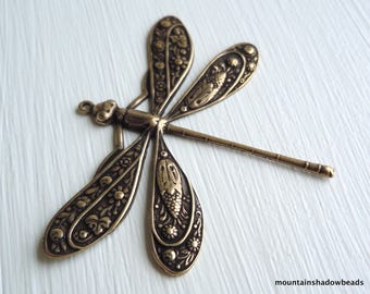 Brass Dragonfly 50x39mm Antique Brass - Without Loop (G - 452)