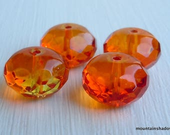 4 Czech Firepolished Faceted Large 9x14mm Gemstone Rondelle Beads Fire Opal (G - 210)