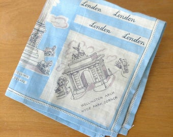 vintage London souvenir hankie