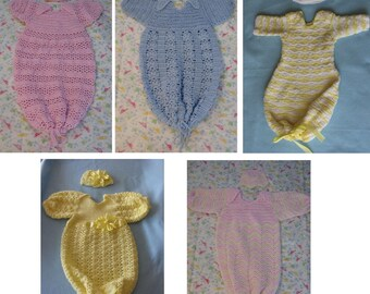 Crochet Pattern - 5 Pattern Sweet Pea Pattern - Discount On Sale - Pajama Pattern - Baby Clothes Pattern - Sleep Bag - Digital Download
