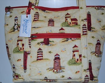 Quilted Fabric Tote Bag Beige with Beautiful Lighthouses