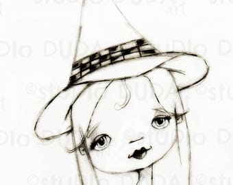 Pretty Witch 2 Versions Digital Stamp - Printable - Art to Color by STUDIODUDAART