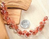 UNICORNE  Beads - 20 TEARDROP 8mm x 6mm Borosilicate Beads in SALMON