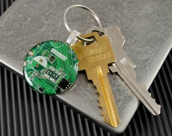 Circuit Board Keychain Green, Mens Key Fob, Motherboard Jewelry, Recycled Computer, Electrical Engineer, Computer Geek, Upcycled