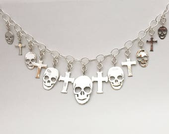 Coin Necklace Skull Cross Pendants made from 13 Vintage American Silver Coins Quarters Dollar