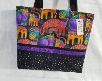 Laurel Burch FABRIC Fantastic Felines purse tote bag
