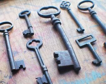 Black Antique Key Skeleton Key Set - Instant Collection - Halloween Keys - Large Vintage Keys