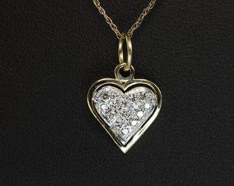 Vintage! 14K Two Tone Gold and Pave' Diamond Heart Tiny Pendant