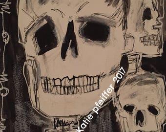Original Three Skulls Goth Painting