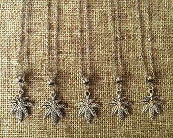 FALL SALE Silver Weed Leaf Necklace / Silver Marijuana Leaf Necklace / Pot Leaf Necklace / Marijuana Jewelry / Stoner Jewelry