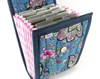 Circular Needle Case - Blue Floral Paisley - Needle Holder Needle Wallet Circular Needle Organizer