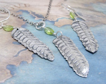 Silver Leaf and Peridot Necklace Set, Leaf Silver Earrings, Fern Necklace, Nature Inspired Jewelry, Peridot Gemstone, Eco Friendly Silver