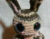 Steampunk brown striped bunny with winding key amigurumi plush crochet