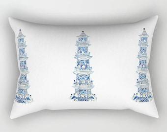 CHINOISERIE PAGODA Rectangular Pillow - 3 Sizes