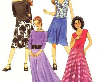 SALE Girls Scoop Neck Tops Skirt McCalls 3550 Sewing Pattern Bias Skirts in Two Lengths Childrens Sewing Pattern Size 7 - 8 - 10 Uncut