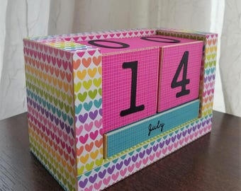 Colorful Rainbow Hearts - Perpetual Wooden Block Calendar - Handmade Block Calendar - Decoupaged Wood - Ready To Ship - Gifts for Her