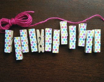 Baby First Birthday Shower - Blue Pink and Orange Polka Dot Chunky Little Clothespin Clips w Twine for Display - Set of 12 - Gifts Under 10
