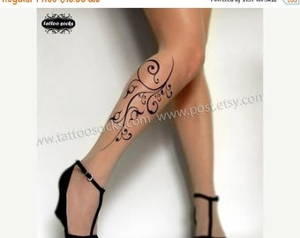 ON SALE/// sexy FLORA Tattoo thigh-high socks Light Mocha Xs/S/M