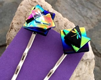 Dichroic Glass BOBBY PINS Two Hair Pins