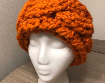 Cable Crochet Earwarmer Headband Rich Pumpkin Orange