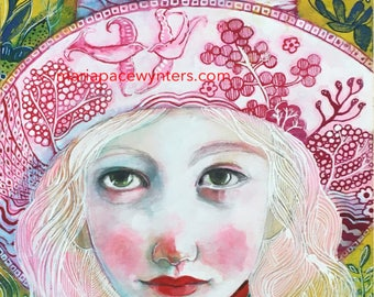 Pink Willow - Original mixed media painting by Maria Pace-Wynters