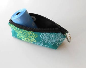 Dog Bag Holder Zipper Pouch with Key Ring ECO Friendly Padded  NEW Teal Sparkles