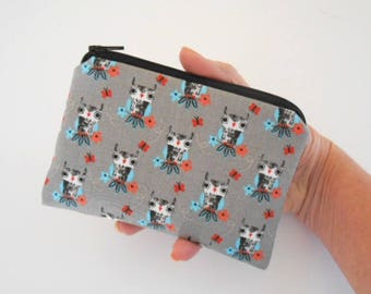 Small Zipper Coin Purse Little Zipper Pouch ECO Friendly Padded Zippered Pouch NEW Owls on Gray