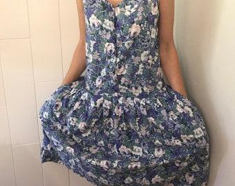 Vintage floral dress, 80's dress, Drop waist dress, Cotton dress, Size small, Woman's