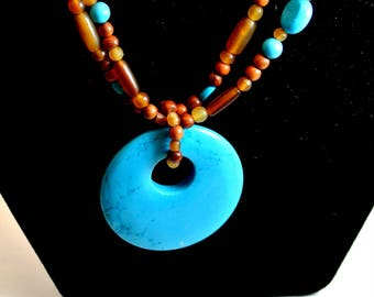 Turquoise Pendant on a Brown Turquoise Bead Necklace Vintage Necklace 16 Inch Necklace Southwest Necklace