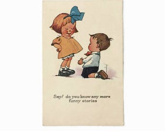 Vintage Charles Twelvetrees Postcard, Illustrated Valentine Post Card, Say do you know any more funny stories, Cute  Romantic Comic