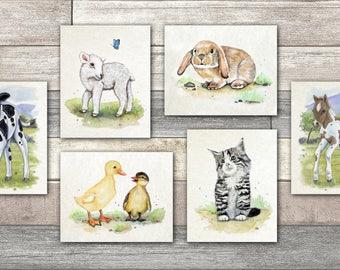 Set of Six Baby Farm Animal Nursery Wall Art prints.   Cow, Horse, Ducklings, Kitten, Lamb and Bunny