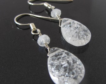 Frosted White earrings , sterling silver drop earrings with moonstone and rock crystal quartz - bridal earrings - gift for her - dew drops