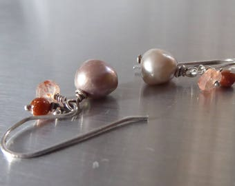 Sparkly Sunstone Earrings with Freshwater Pearls in sterling silver