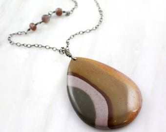 Polychrome Jasper and Peach Moonstone Long Necklace Oxidized Silver