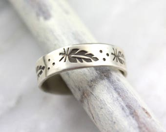 Stamped Feather Silver Band Ring