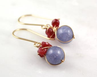 Ruby and Tanzanite Quartz Gold Bundle Earrings