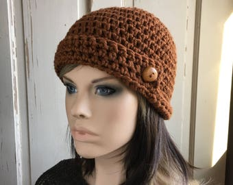 Crocheted Cloche Ladies Hat Brown Hat with Button Cinnamon Brown Cloche