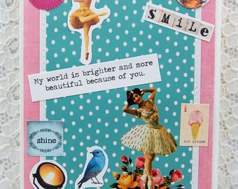 """My World is Brighter Because of You Card comes w 1"""" Pin Back Button-Friendship card- You Make Me Smile Card-Friends Card-You Make Me Happy"""