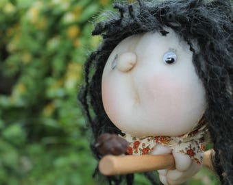 Hilda the Kitchen Witch - Kitchen Witch Doll - Herb Witch - Green Witch - Good luck doll for your kitchen!