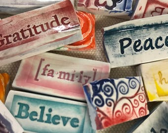 20 Inspirational Words and textured  Handmade Mosaic tiles. Hand painted.