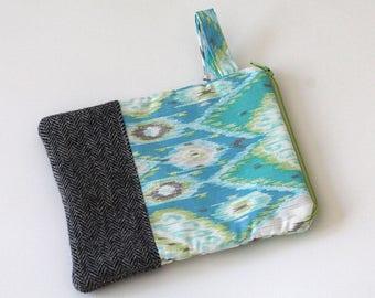 ikat zipper pouch, wallet handbag, Cosmetic makeup bag, sunglasses, purse organizer, gray wool herringbone pouch, blue green, wristlet