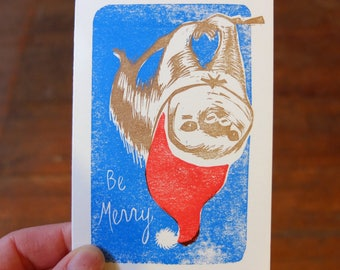 Be Merry Sloth Holiday blank card letterpress linocut