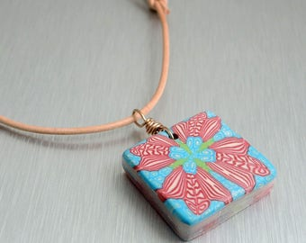 Aqua and Red Polymer Clay Pendant - Red Floral Pendant - Fimo Pendant