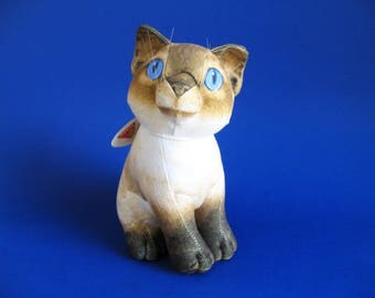 Vintage Siamese Cat Stuffed Animal Sophisticats by Dakin Pasha Kitten Blue Eyes Whiskers 1990s Toy Cat Lover Plush