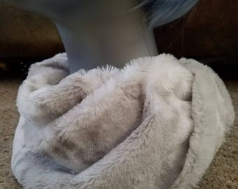 Snow Leopard Faux Fur Minky Infinity Scarf