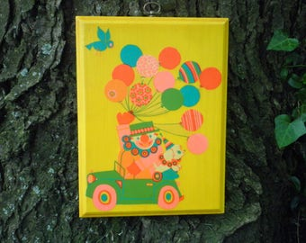 Vintage Circus Clown Balloons Dog & Blue Bird Wall Art / Plaque from 1979 - Retro Parade Clown Car Kids Room Decor Wall Hanging Picture Gift