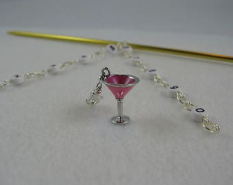Numbered Chain Row Counter With Removable Pink Martini Charm - US 4 - Item No. 1043