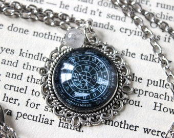 Pentacle Wheel of the Year Cabochon Necklace with Cloudy Quartz Bead - Witchy Goth Pentagram Witchcraft
