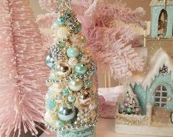 Ivory Bottle Brush Tree - Shabby Aqua, Mercury Glass, AB Rhinestones