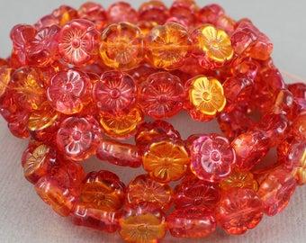 Sunrise mix of red and orange Czech glass flower beads with metallic orange finish - 12mm - 10 pcs - FB257